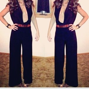 low cut wide leg black jumpsuit